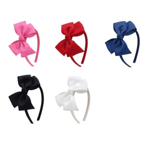 Cloris Boutique Bow Grosgrain Ribbon Wrapped Headbands Red Hot Pink Navy Black White(5 Pack)