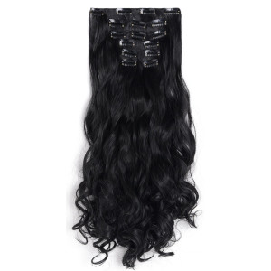 Onedor Curly Full Head Clip In Synthetic Hair Extensions 140G 1B-Off Black, 7 Piece