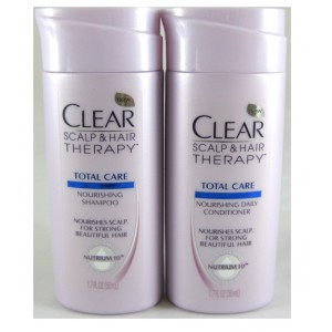 Travel Size CLEAR SCALP and HAIRTM Total Care Nourishing Shampoo and Conditoner, 1.7 Fl Oz Each