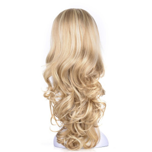 "OneDor 23"" Curly 3/4 Ladies Half Wig Kanekalon Hair Synthetic Wigs with Comb on a Mesh Head Cap (R1488H)"