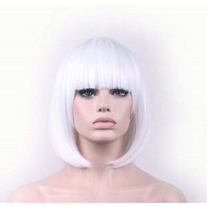 """TLTSHOPS TLT Synthetic Straight Short Hair Bob Natural White Wigs 11.5"""" with Flat Bangs COSPLAY Wig for Wo"""