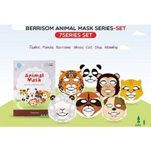 Berrisom Animal Mask Series Set 7 Characters Fun N Moisturizing Facial Mask Pack (25ml x 7pcs)