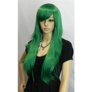 Kalyss Women's Green Color Long Straight Cospaly Party Full Hair Wigs