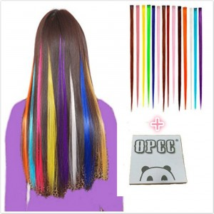 YPCC OPCC Bundle 12 Pieces of 22 Inches Multi-Colors Party Highlights Colorful Clip In Synthetic Hair E