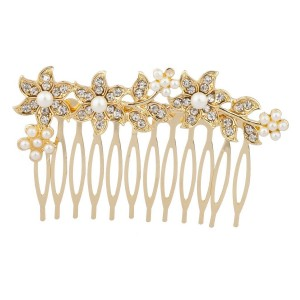 Lux Accessories Faux Pearl Pave Flower Floral Bridal Bride Wedding Hair Comb