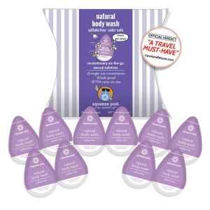 Squeeze Pod NATURAL BODY WASH - Best Travel Size Toiletry. 10 Single-Use Pods. Sulfate Free and moisturizing.