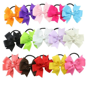 """Bzybel Boutique Baby Girls 3.5"""" Grosgrin Ribbon Hair Bows Ponytail Holderes Hair Ties for Teens and Young Women 15pcs"""