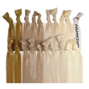 "Kenz Laurenz Hair Ties Ponytail Holders - 20 Pack ""Blonde Ombre"" Gold Beige Taupe Tan No Crease Ouchless Elas"