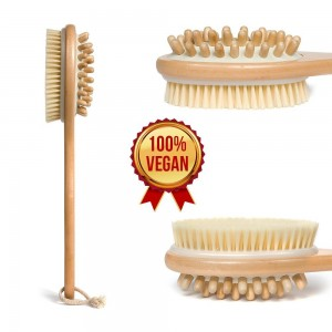 Sano Naturals Body Brush for Dry Brushing, Cellulite and Skin. 100% Vegan, Cruelty-Free, Shed-Free Bristles. Lon