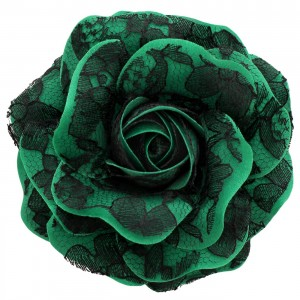 Sara Monica, St Patrick's Day Hair Flower and Pin, Lace Rose: Made in the USA (Green)