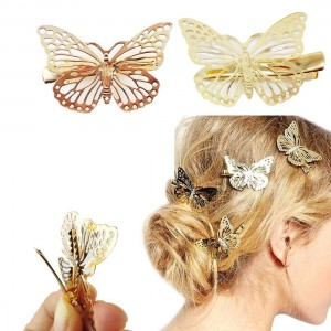 Blovess Yueton Pack of 2 Golden Butterfly Hair Clip Hair Accessories, Bride Headwear Hair Clips
