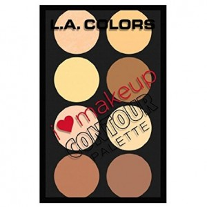 LA Colors L.A. Colors I Heart Make Up Contour 8 Shades Palette PLUS FREE EARRING - Highlight, Define and Con