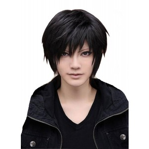 MISHAIR Men's Beautiful Male Black Short Straight Hair Wig Cosplay Party + Wig Cap