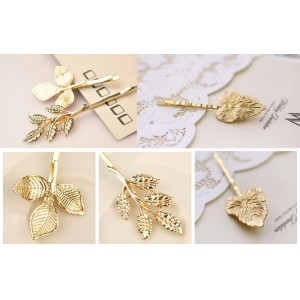 Blovess Yueton 3 Pairs Athena Olive Branch Leaves Barrettes Bobby Pin Hair Clips Bride Headwear Edge Clip