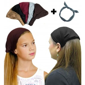 Exquisite Pack- 5 Solid, Dark Color, Wide Headbands With Grey Wire Headband - CoverYourHair