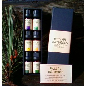 Mullan Naturals Organic Essential Oil Sampler Collection-Therapeudic Grade  6 x 10ml Bottles Tea Tree, Lavender, Eucalyptus, Lemongrass, Peppermint and Sweet Orange