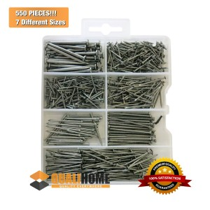 Qualihome #1 Best Quality Small Hardware Nail and Brad Assortment Kit, 550 Pieces