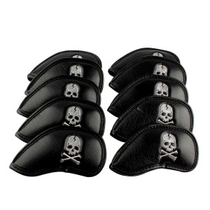 Craftsman Golf 10pcs Black Skull Thick Pu Synthetic Leather Golf Iron Head Covers Set Headcover Skull Fit All Brands Titleist, Callaway, Ping, Taylormade, Cobra, Nike, Etc.