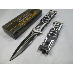 Tac Force Assisted Opening Rescue Punisher Skull Design Folding Stainless Steel Blade Knife Outdoor Survival Camping Hunting - White