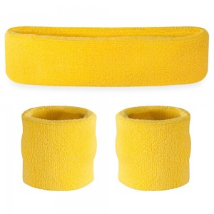 Suddora Sweatband Set - (1 Headband and 2 Wristbands) High Quality Cotton for Sports and More