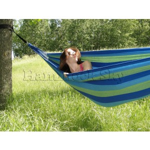 Hammock Sky Brazilian Hammock - Two Person Double for Backyard, Porch, Outdoor or Indoor Use - Portable for Camping - Soft Woven Cotton Bed for Supreme Comfort (Green and Blue Stripes)