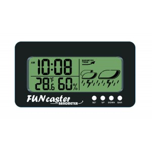 TecScan FUNcaster Barometer Golf Cart Ambient Weather Clock Boat Office Home w/ Time, Temperature, Humidit