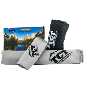 Camping and Outdoor Towel Set - 2 Quick Drying Microfiber Towels, super absorbent, anti bacterial and lightweight. Pack into a handy stuff sack so you can fit them anywhere.