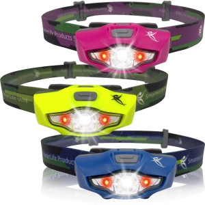 SmarterLife Products LED Headlamp Flashlight - Brightest Headlamps, 1 AA Battery, Only 1.5 oz. - Waterproof - with 4 Wh