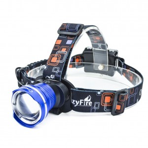 Super Bright LED Headlamp,CrazyFire 1600 Lumens XML-T6 CREE LED Headlamp,Adjustable 3 Modes Runners Headlamp for Reading,Hunting,Hiking,Camping,Running,Jogging,Climbing,Fishing(Blue)