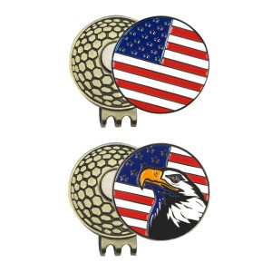 Generic 2pcs New Strong Magnetic Antique Brass Golf Hat Cap Clip with USA Golf Ball Marker