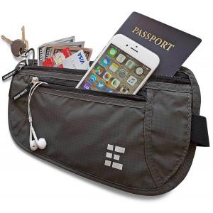 Zero Grid Money Belt w/RFID Blocking - Concealed Travel Wallet and Passport Holder