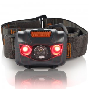 GRDE Headlamp LED Headlight 4 Mode Outdoor Flashlight Torch with Dimmable White Light Steady Red Light