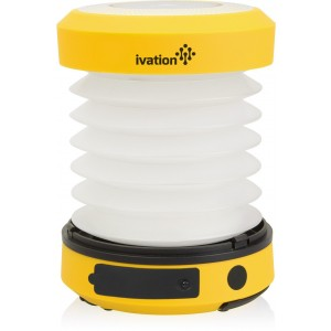 Ivation Solar LED Camping Lantern Collapsible and Rainproof, USB Flashlight torch 2 Lighting levels, Emergency Cell Phone charger