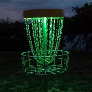 GlowCity Set of 2 LED Lights for Disc Golf Basket, Multi Colored, Remote Controlled, Waterproof, Basket Not