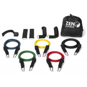 Zen Junkie MAXIMUM RESULTS WITH MINIMUM EFFORT. PREMIUM QUALITY RESISTANCE BANDS SET FOR FITNESS TRAINING, 5