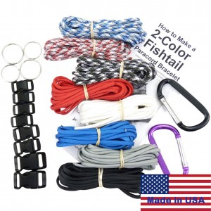 Dakota Gear (TM) Paracord Survival Bracelet and Project Kit. 550 Parachute Cord, Buckles, Carabiners, Key Rings, Wr