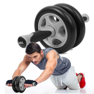 Jumbl Ab Wheel Roller - Dual, Double Pro Abdominal Exercise Wheel - Fitness Smooth Workout for Abs
