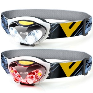 Pack of 2, BYB E-0460 LED Headlamp Flashlight, 3 Modes for Usage, 2 Red Lights for Emergency Using, Waterproof and Shockproof Design for Camping, Hiking, Reading and More