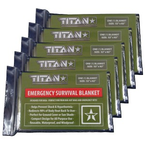 "Titan Paracord TITAN Survival Blankets (5-Pack), 52"" x 82"" - Designed for NASA Space Exploration and Heat Reten"