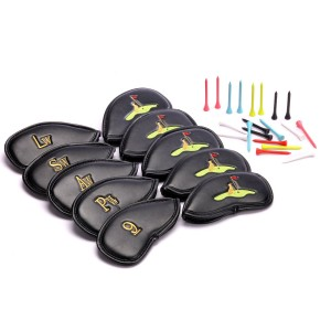 SteadyDoggie Sports & Outdoors Golf Club Headcovers 30 Golf Tees This is a Set of 10 High Quality PU Leather Golf Iron Club Cover