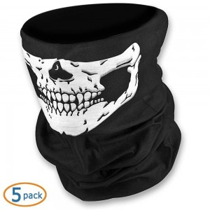 WOVTE Black Seamless Skull Face Tube Mask Pack of 5