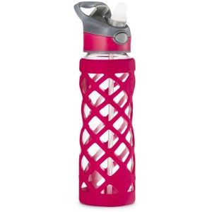 Swig Savvy Glass Water Bottle, Extra Large 25oz Capacity, Non Slip Silicone Sleeve, Borosilicate Glass Construction, BPA Free, 3 Interchangeable Caps-Red