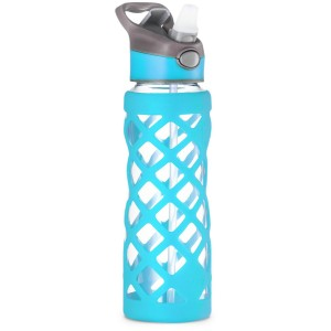 Swig Savvy Glass Water Bottle, Extra Large 25oz Capacity, Non Slip Silicone Sleeve, Borosilicate Glass Construction, BPA Free, 3 Interchangeable Caps-Blue