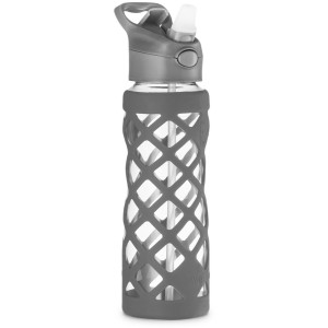 Swig Savvy Glass Water Bottle, Extra Large 25oz Capacity, Non Slip Silicone Sleeve, Borosilicate Glass Construction, BPA Free, 3 Interchangeable Caps -gray