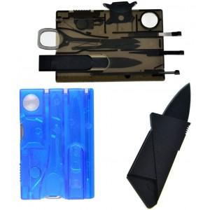 One Planet Products Swiss Card Lite Pocket Tool by One Planet (2-Pack) with Credit Card Knife - Multi-Function Army Kn