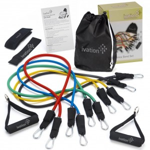Ivation Resistance Band Set – Detachable Foam Grip Handles, Door Anchor, Ankle Straps, Starter Guide and Carrying Case Included