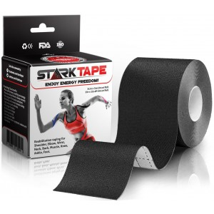 Kinesiology Tape for Athletes by StarkTape. Best Knee Taping, Therapeutic Tape for Sports Injuries Shoulder Wrist Muscle. Sticky Waterproof Latex Free Adhesive. Uncut 2 In x 16.4 Foot Roll