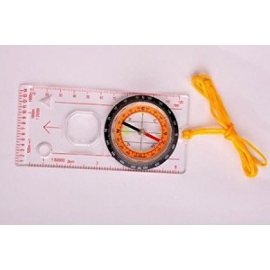 AOR Power #AOR191 Compass Multi-functional belt scale map compass with scale. Compass Camping Hiking Survival Compass All In 1 Outdoor Camping Baseplate Compass Map Measure Ruler Magnifying Glass (Clear Multifunction Scale Map Compass)