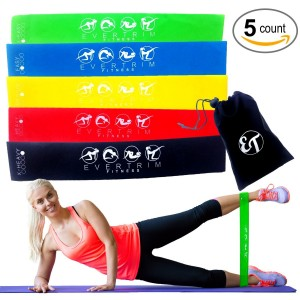 EverTrim Fitness Top Rated Premium Resistance Loop Bands for Exercise - Set of 5 Bands for Stretching, Exercise, Ph