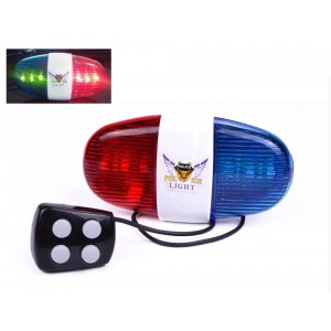WFR Bike WFR Cycling Bike Electric Horn [4 Sounds] Bicycle Police Siren Bell [6 LED Lights]